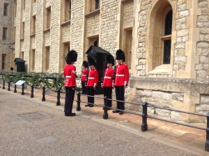 The Queens guard at the Tower of London.