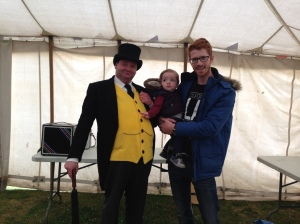 Daddy and Oliver meet the Fat Controller.