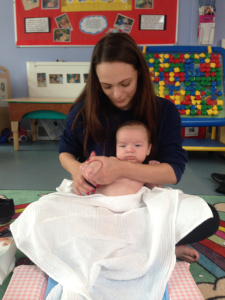 Oliver at baby massage