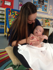 Mum and baby at baby massage - Baby massage review