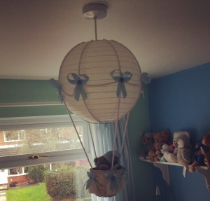 Teddy bear hot air balloon lampshade.