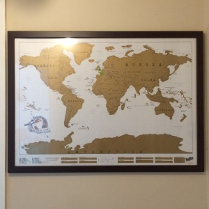 Our family scratch map, so we can mark the places we have been to as a family.