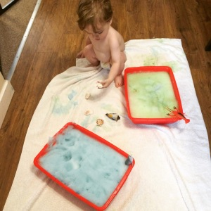 Sensory sea foam messy play activity.