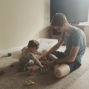 Daddy and Oliver playing with Mummy's old Duplo zoo set.