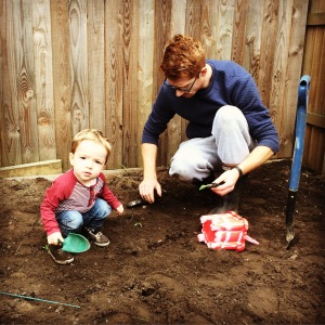 Oliver and Daddy doing the gardening.