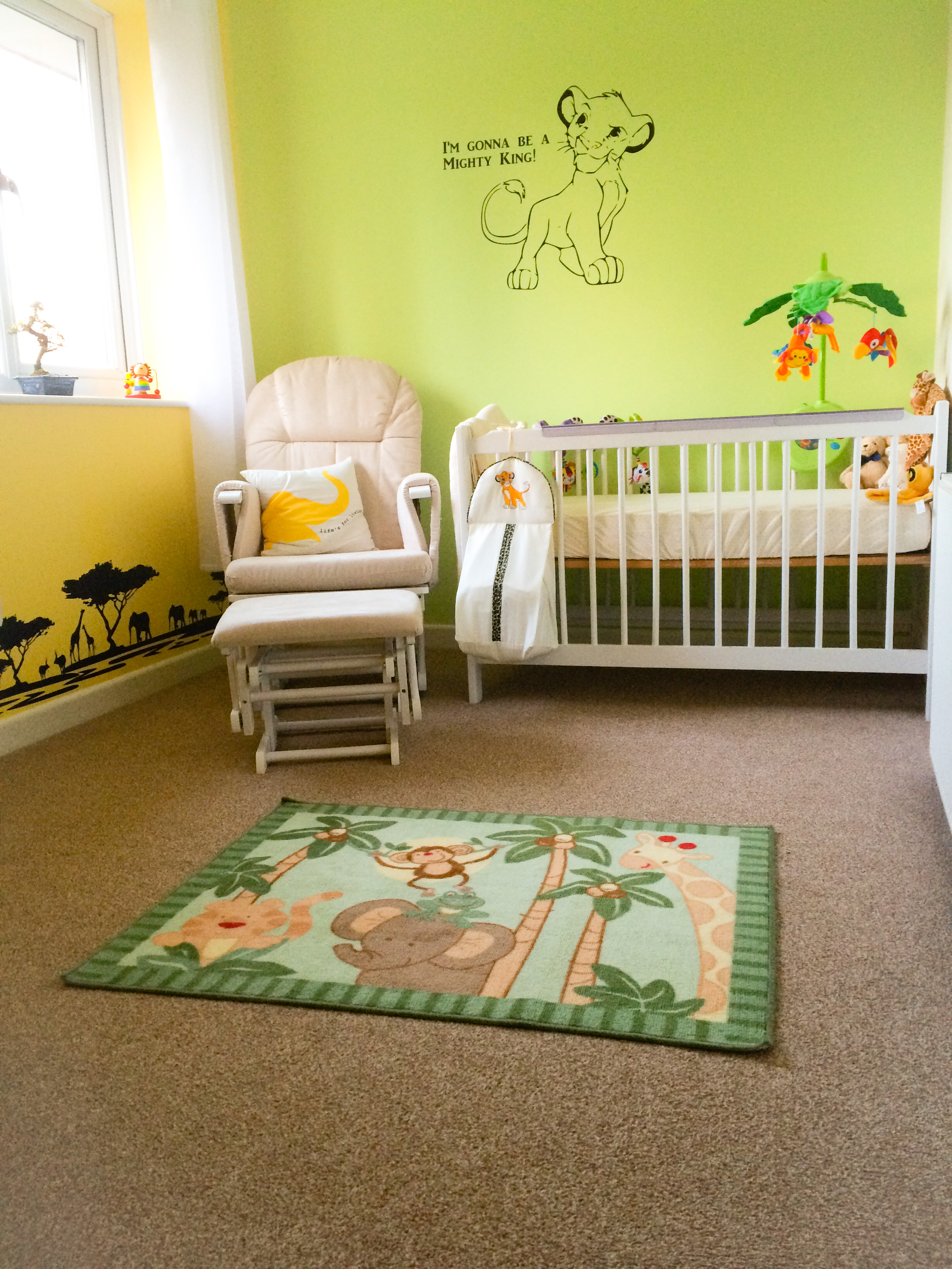 Curtains By Dunelm. Cot Mobile By Fisher Price. Lion King (Simba) Nappy