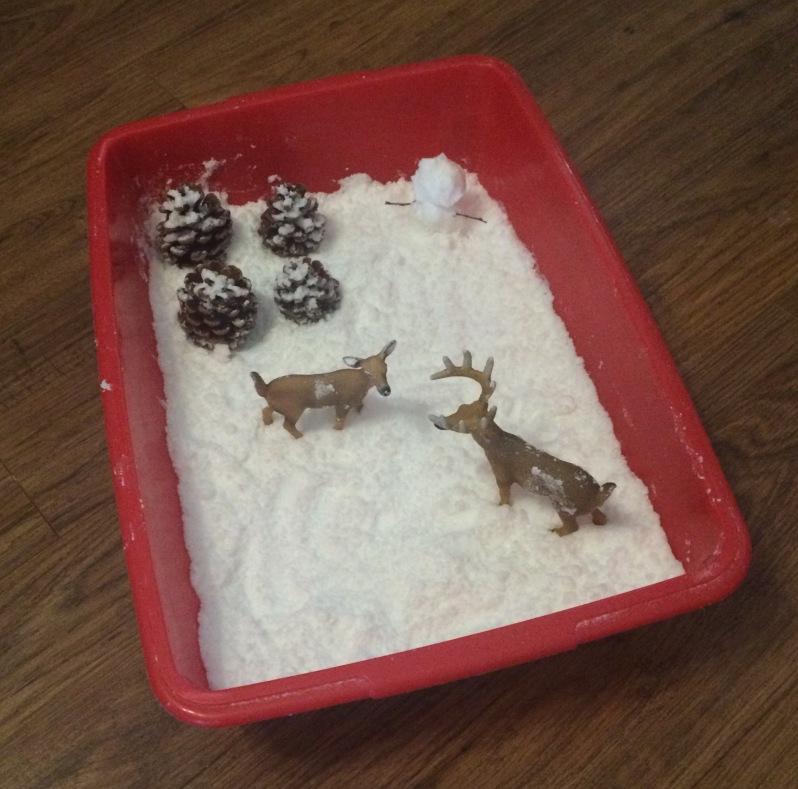 Imaginative winter sensory snow scene