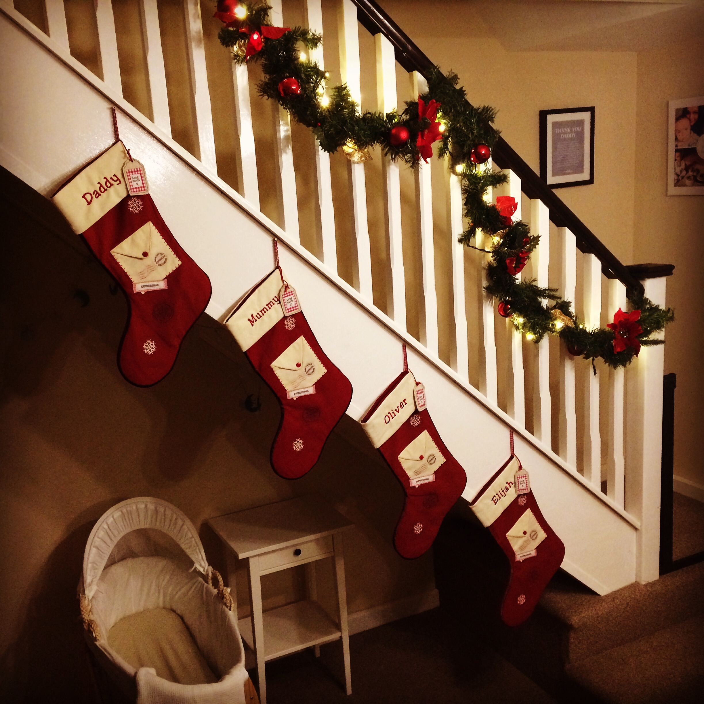 Hanging stockings on the staircase