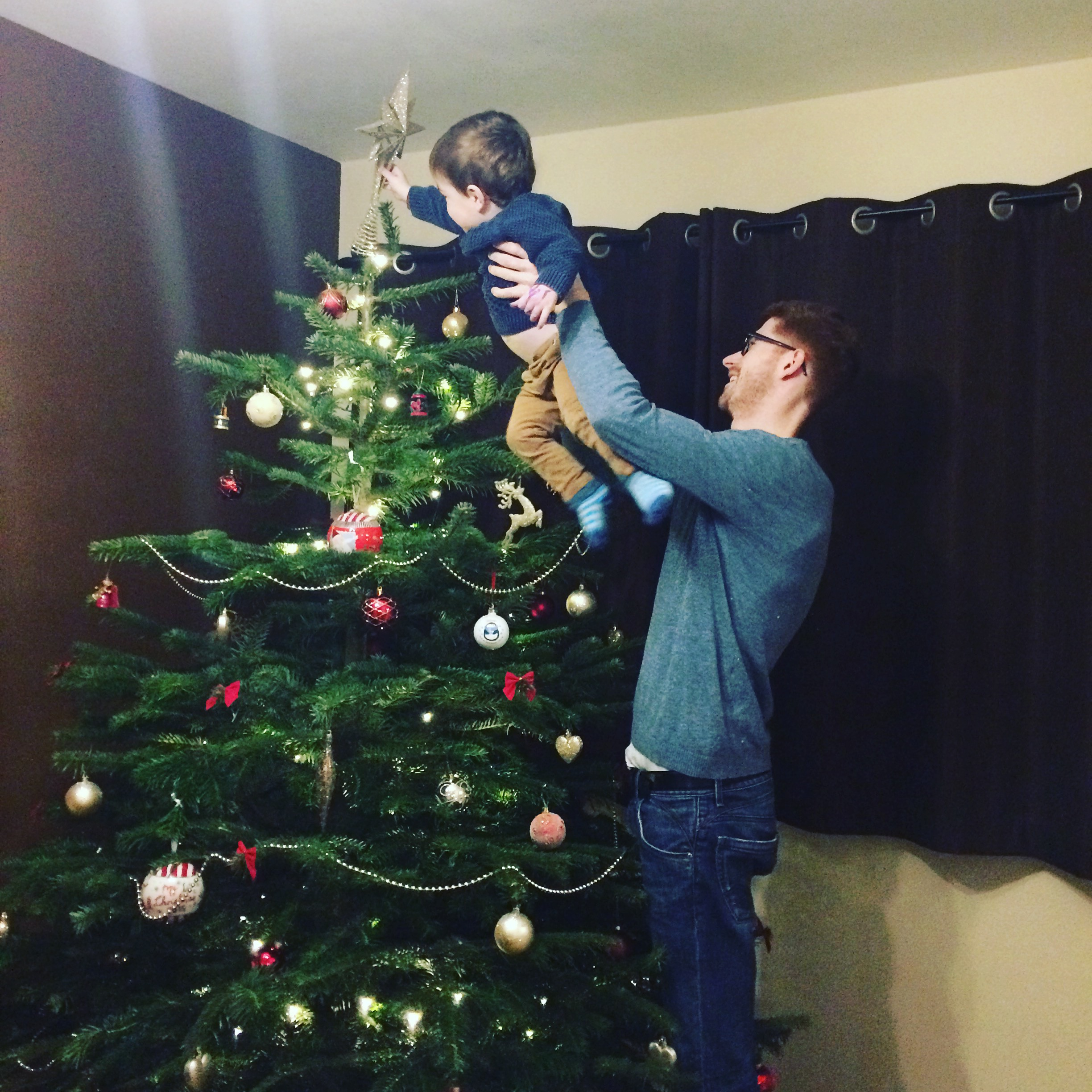 Putting the star on the top of the tree