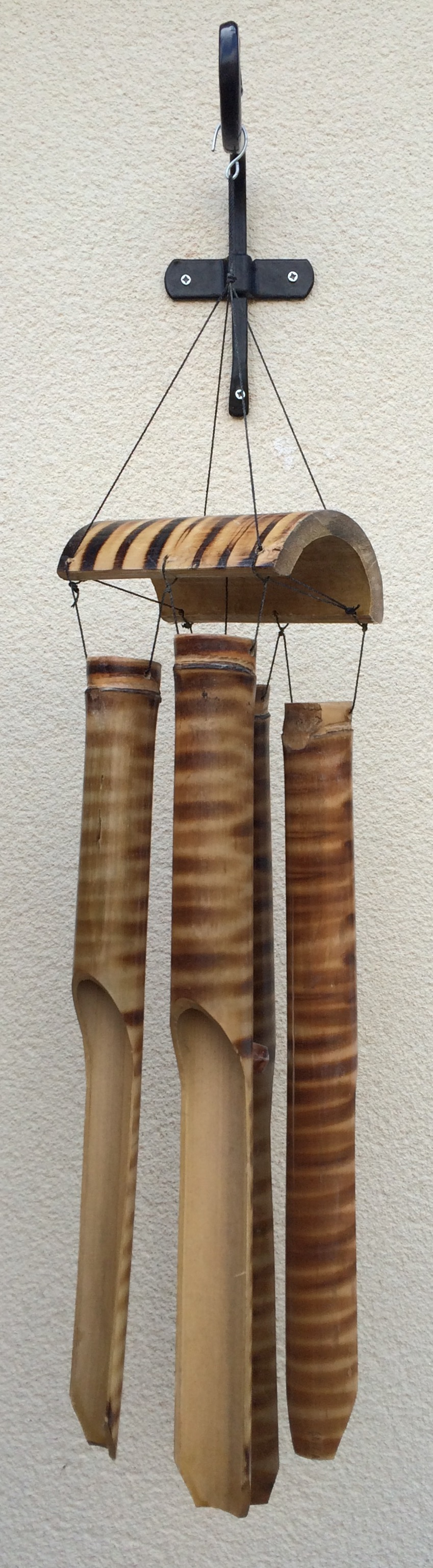 Bamboo wind chimes in children's sensory garden