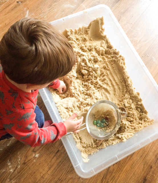 Digging for the kings treasure sensory play