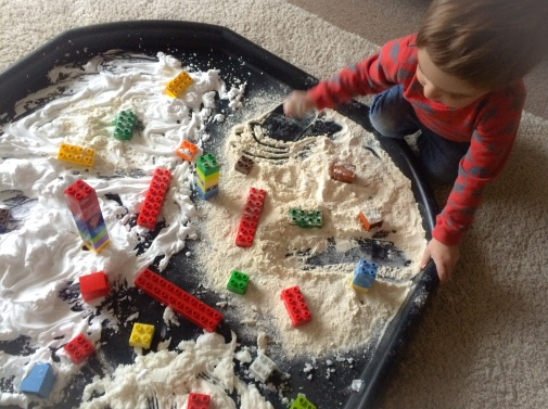 Castles in the snow sensory play